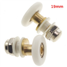 MTGATHER 19/23/25/27mm Dia Partiality Shower Door Rollers/Runners/Wheels/Pulleys Enclosures 4 Size Nylon Brass Stain Steel Nut(China)