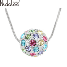 Nidalee Brand Zircon Colorful Crystal Ball Pendants Crystal From Swarovski Statement Necklaces Women Wedding Party Jewelry N467
