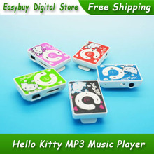 100 pcs/lot 100% Brand New High Quality Mini Hello Kitty MP3 Music Player Clip MP3 Players Support TF Card 5 Colors
