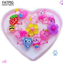 12pcs/set Mix Animals Flower Heart Assorted Baby Kids Girl Children's Cartoon Rings With Display Box For Christmas Gift(China)