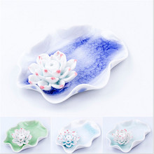 Exquisite Lotus Flower Ceramic Incense Burner Vintage Style Accessories 1 Sticks Incense Tower Censer Home Decor