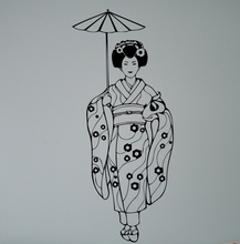 Geisha with Umbrella Wall Decal Vinyl Sticker Asian Girl Japan Art Decor Beauty Home Interior Living Room Design Mural