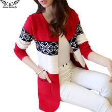 2017 high quality fall and winter cardigan sweater Knitted Cotton Patchwork Retro pocket Fashion Leisure cardigan women(China)