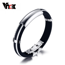Vnox Silicone Men Bracelet Bangle Sport Rubber DIY Adjustable Rubber Stainless Steel Hand Jewelry(China)