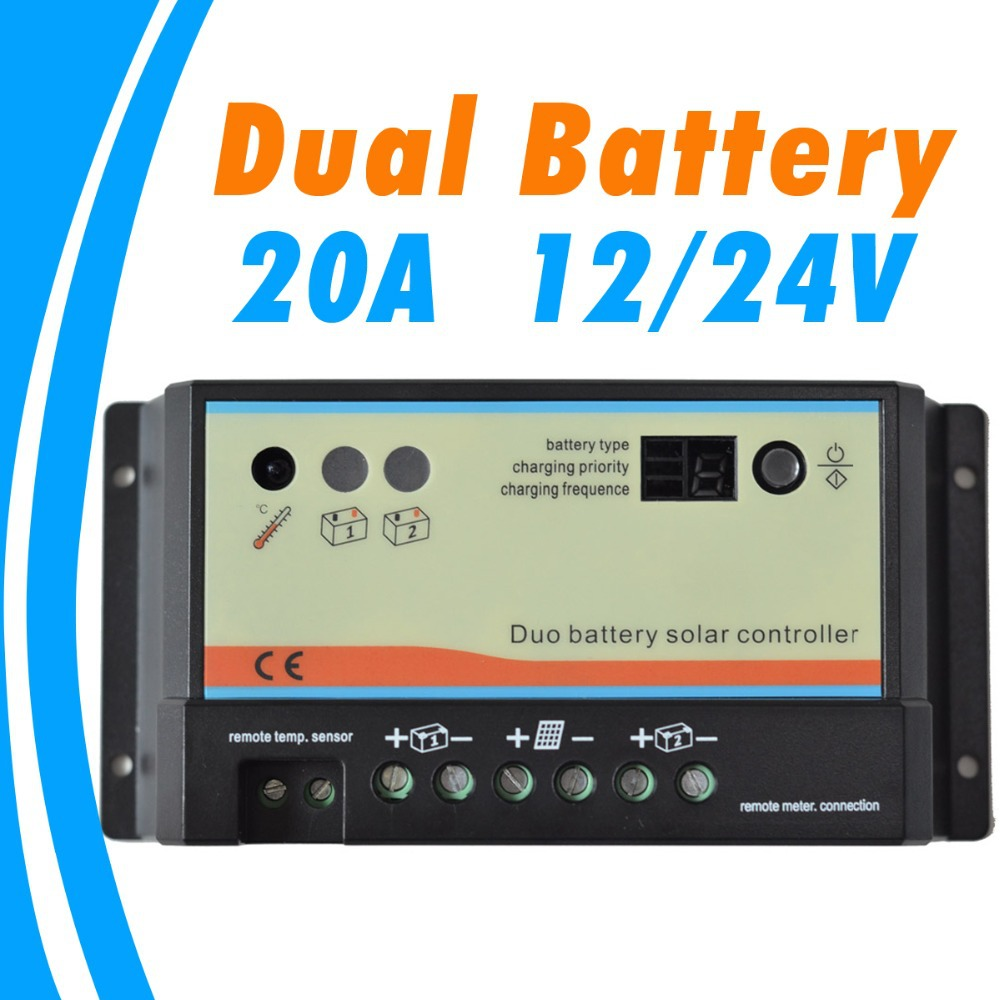 20A daul battery Solar Charge Controller duo-battery charge controller 12V 24V solar panel battery charger for RV Boats Golf<br>