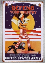 1 pc Defend Your country Army US  Plaques vintage tin Sign plate man cave home Decoration Retro Metal Poster