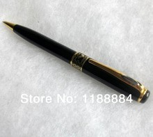 1pcs/lot Baoer 68 Black Polished and Gold Clip M Nib Ink/ Steel metal ball pen for promotion and gift packing witn velvet pouch