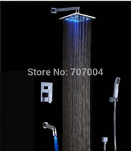 Newly Wall Mount Concealed LED Light Shower Faucet Sets Chrome Finish Bath Shower Mixer tap with Handshower