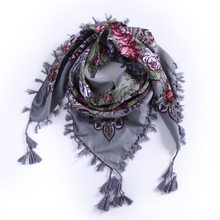 2017 Hot Sale New Fashion Woman Scarf Square scarves short Tassel Floral printed Women Wraps Winter lady shawls Headband