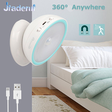 Jiaderui 360 Degree Rotate LED Night Light IR Motion Sensor USB Rechargeable Wall Lamp Hallway Pathway Staircase Night Lighting(China)