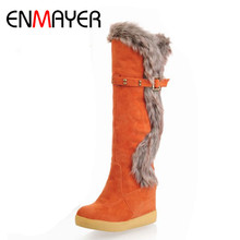 ENMAYER High Wedges Heels Snow Boots for Women Warm Fur Winter Shoes Knee High Rabbit Fur Platform Knight Boots for Women(China)