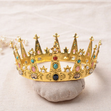 Wedding Bridal Hair Jewelry Accessories Bridesmaid Women Big Round Crown Gold Color Crystal Pearl Beads Pageant Tiaras Crowns