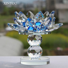XINTOU Crystal Glass Block Lotus Flower Candle Holders Feng Shui Wedding Home Decor Big Tealight Candle Stand Holder Candlestick(China)