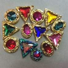 New Hot Style Retro Carving Fake Gem High Grade Acryl Coloured Diamond Edging Sewing Rhinestones Luxury Garment DIY Accessories