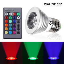 220V LED RGB Led Bulb Lamp Lamparas Colourful E27 3W Spotlight Bombillas Led State DJ Home Party Decoration with IR Remote Light