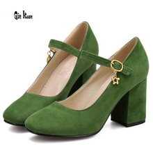 Qin Kuan Ladies Suede Round Toe Thick Heel Party High Heel Shoes Fashion Cross Strap Spring Pumps Women Size 34-39 QKP0122A