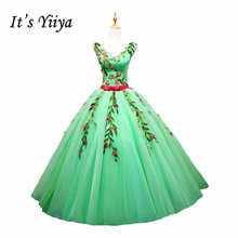 It's YiiYa Green Fashion V-Neck Appliques with Beading Sleeveless Bride Dress Floor Length Bow Sashes Pattern Wedding Gowns L007
