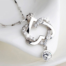 Women Fashion Double Hollow Love Heart Pendant Necklace Chain Choker Jewelry