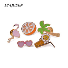 5pcs / set Hawaiian Style Cartoon Coconut/Orange/Orange Juice/Glasses/Brooch Cute Fun Children's Day Gift Fashion Jewelry
