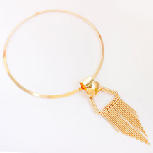 F&U Zinc Alloy Cheap Wholesale Popular Gold and Silver Color Flexible Dangle Charm Choker Necklace