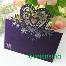 Free Shipping-50pcs Purple Color Laser Cut Place Cards Wedding Name Cards For Wedding Party Table Decoration-7 Colors U Pick