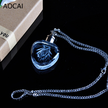 3mm*3mm DIY 3D heart crystal necklace and keyring 6 led color choose with free Customize personality gift souvenir(China)
