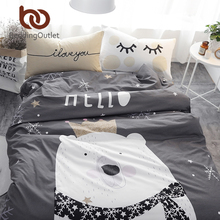 BeddingOutlet White Bear on Gray Printed Bedding Set Kids Bedspread Duvet Cover Cute 100% Cotton Bed Set With Flat Sheet 4Pcs