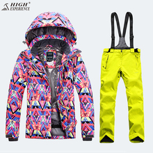 Fashion Winter Ladies Sport Coat Ski Jackets Women Mountain Skiing Outdoor Snowboarding Suits Ski Jacket And Bib Pant Waterproof(China)