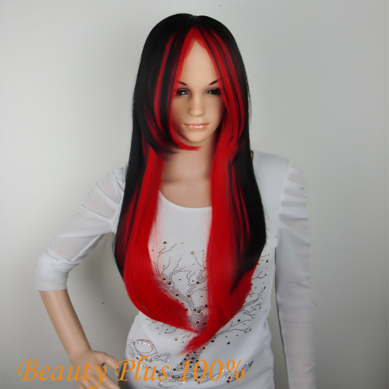 Cosplay Wig Black Red Euramerican Style Long Straight Hair Wig Free Shipping<br><br>Aliexpress