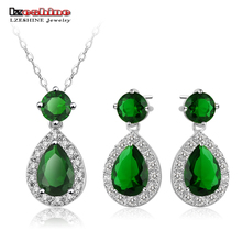 LZESHINE Created Emerald Water Drop Shape Pendants Necklaces Drop Earrings New Christmas Party Jewelry Set Wholesale CST0043