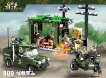 Model building kits compatible with lego city Military Intercept vehicles 964 3D blocks Educational toys hobbies for children