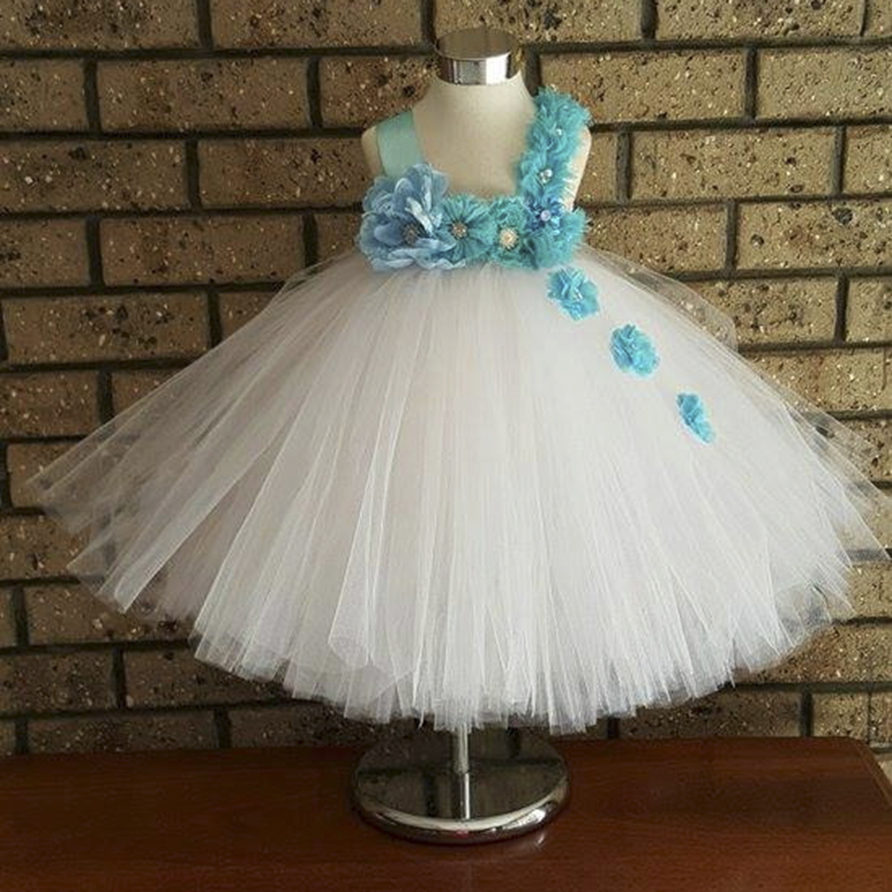 Gorgeous Flower Girls Dress Blue Pink Flower Baby Girls Tutu Dresses Baptism White Baby Dresses Toddle<br>