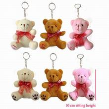 "12pcs x 10cm(4"") Miniature Tiny Small Plush Teddy Bear With Foot Heart & Footprint Keyring Doll Gift Baby Shower(China)"