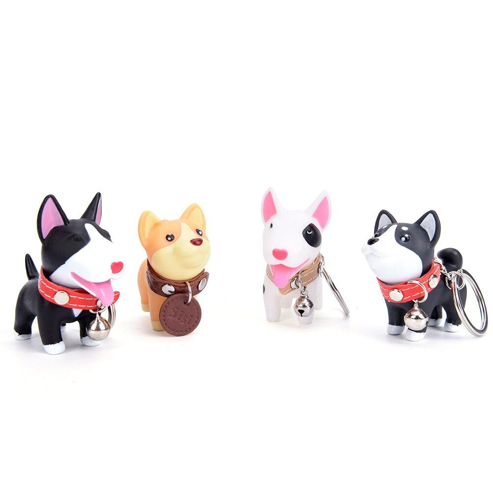 1Pc Dog Animal Versatile Rubber Keyrings Cartoon Keychain For Women Girls Car Bag Chain Creative Design