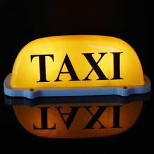 Large Size 12V Car Taxi Meter Cab Topper Roof Sign Light Lamp Bulb Magnetic Base Yellow Wire length: 68cm