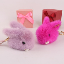 Cute Rabbit Small Bunny Kids Toy Bag Charm Real Mink Fur Bag Bug Monster Bag Bugs Charm Pompom Keychain Leather Pendant F108(China)