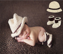 Crochet Beige Color Baby Boy Cowboy Hat&Botties Set Newborn Cowboy Design Photography Props Knitted Baby Hat Shoes Set MZS-15066(China)