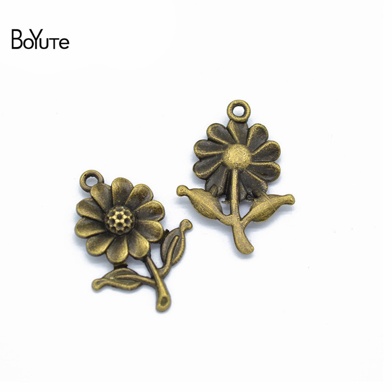BoYuTe (50 PiecesLot) Metal Alloy 2818MM Sunflower Pendant Charms for Jewelry Making Diy Hand Made Accessories Wholesale (1)