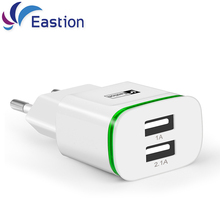 LED Light Mobile Phone Charger 2 Ports USB 5V 2A EU Plug Wall Adapter Device Micro Data Charging For iPhone 4 5 6 iPad Samsung