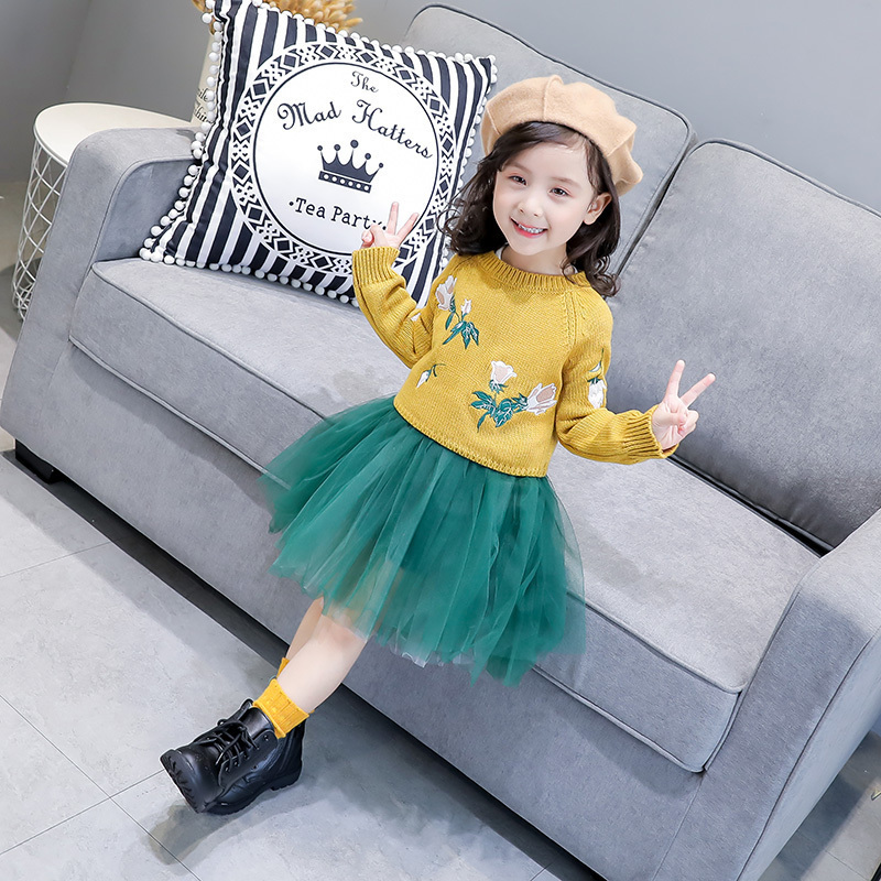 2017 winter kids dresses two pieces sweater tutu mesh dresses for girls cute casual streetwear embroidery floral fancy clothes<br>