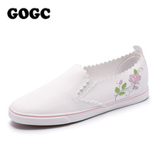Buy GOGC 2018 Flower Flat Shoes Women Breathable Soft Vulcanized Shoes Slip Ladies Leather Shoes Slipony Women New Women Sneakers for $22.31 in AliExpress store