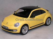 Yellow Kyosho 1:18 Volkswagen VW Beetle Coupe Diecast Model Car Static Gifts Classic Vehicle
