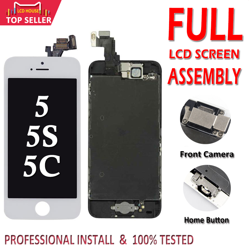 Full Set for iPhone 5 5S 5C LCD Screen Complete Assembly Display Touch Digitizer Replacement Front Camera Home Button Installed