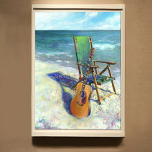 High Skills Artist Hand-painted High Quality Modern Abstract Decorative Guitar Oil Painting On Canvas Modern Guitar Painting
