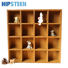 HIPSTEEN Vintage Pine Wood 16-Cubby 4-Layer Tray Storage Cabinet Laminated 16-Cube Organizer Kitchen & Office Space Saver System