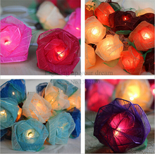Beautiful Design 20LED Battery Operated Rose Flower String Lights Pink Lighting Wedding Garden Christmas Decor 220V 3M(China)