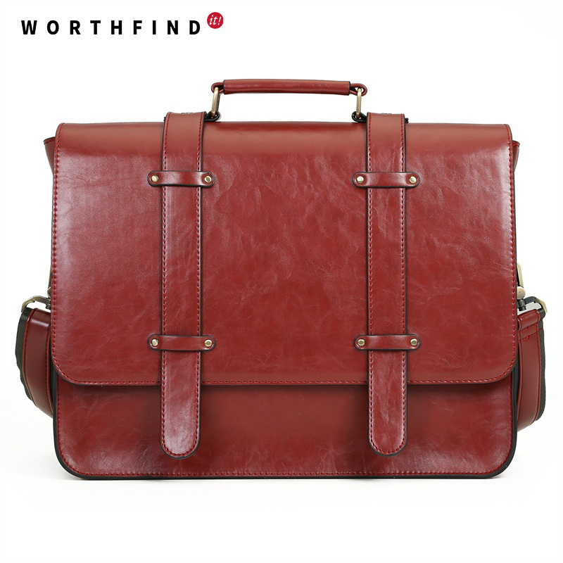 WORTHFIND New Women Messenger Bags PU Leather Handbag Vintage Crossbody Satchel Briefcase Bolsas Femininas Bags for 14.7 Laptop<br>