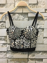 Hand-made Beaded Gaga Rhinestone Bustier Pearls Push Up Night Club Bralette Women's Bra Cropped Top Vest Plus Size