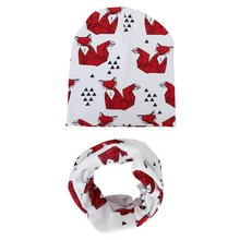 Autumn Winter Warm Kids Caps Scarfs Suits Cotton Froal Star Infant Hats Scarf Set 2 Pcs In Sets Baby Skull Cap