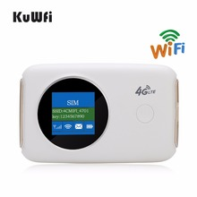 KuWFi Unlocked 4G Wireless Wifi Router Car Mobile Wifi Hotspot Portable 3G 4G Wifi Router Pocket With Sim Card Slot Up to 10User(China)